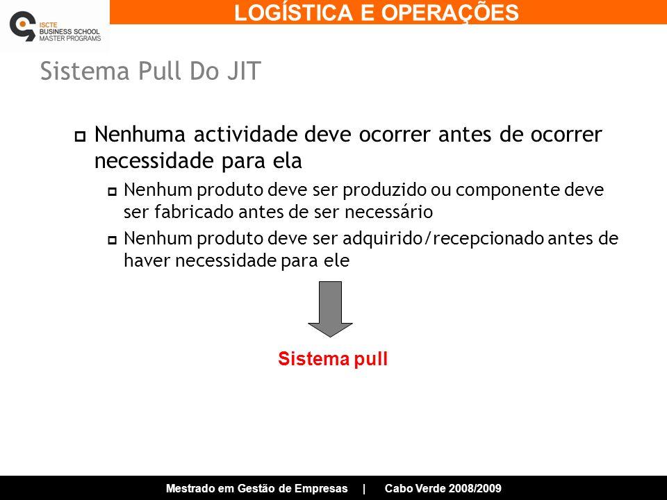 Sistema Pull Do JIT Nenhuma actividade deve ocorrer antes de ocorrer necessidade para ela.