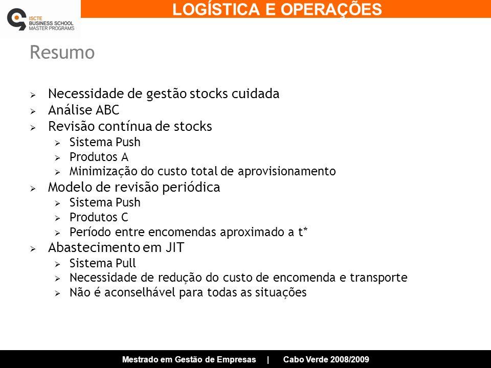 Resumo Necessidade de gestão stocks cuidada Análise ABC