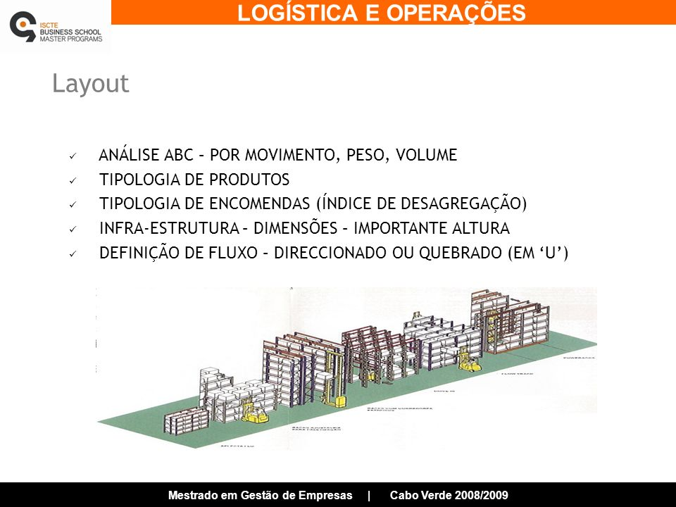 Layout ANÁLISE ABC – POR MOVIMENTO, PESO, VOLUME TIPOLOGIA DE PRODUTOS