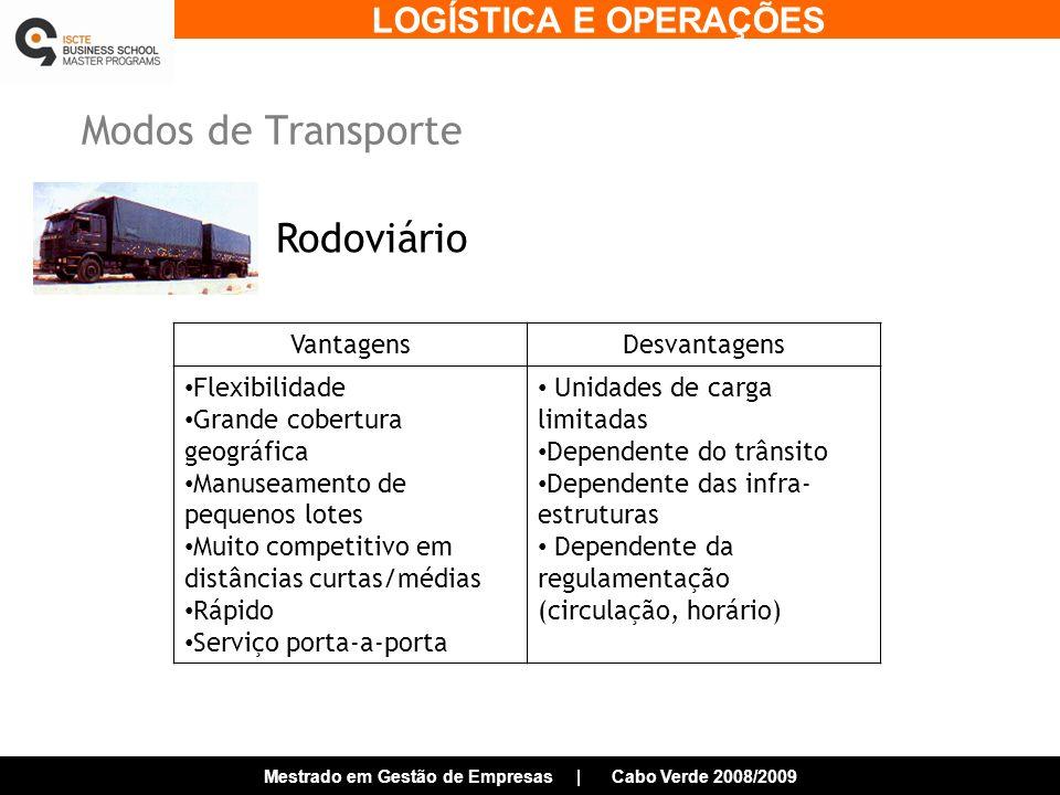 Modos de Transporte Rodoviário Vantagens Desvantagens Flexibilidade