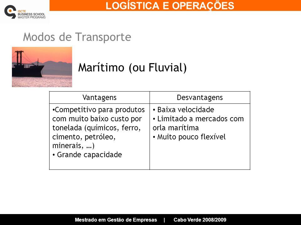 Modos de Transporte Marítimo (ou Fluvial) Vantagens Desvantagens