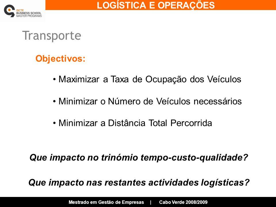 Transporte Objectivos: Maximizar a Taxa de Ocupação dos Veículos