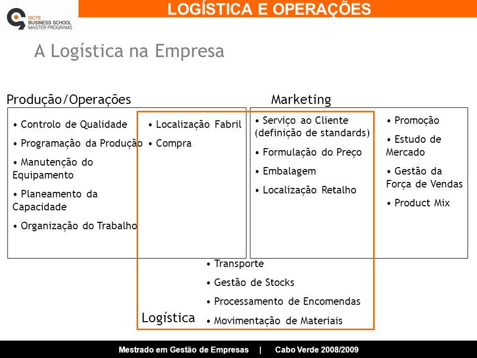 A Logística na Empresa Produção/Operações Marketing Logística