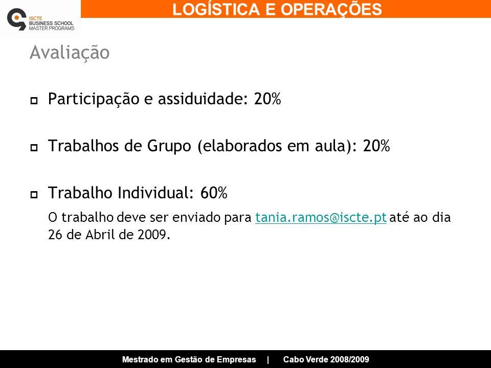 Avaliação Participação e assiduidade: 20%