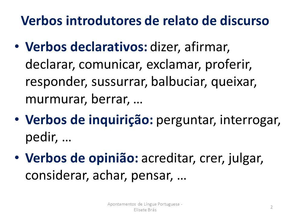 Verbos introdutores de relato de discurso