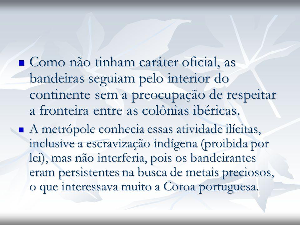 Como não tinham caráter oficial, as bandeiras seguiam pelo interior do continente sem a preocupação de respeitar a fronteira entre as colônias ibéricas.