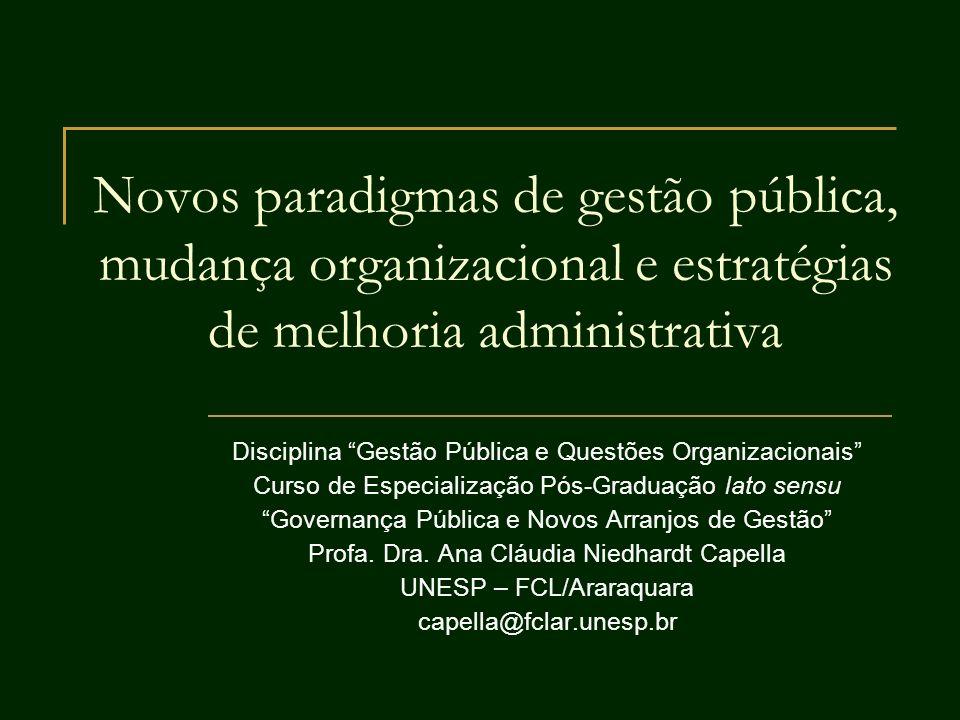Novos paradigmas de gestão pública, mudança organizacional e estratégias de melhoria administrativa