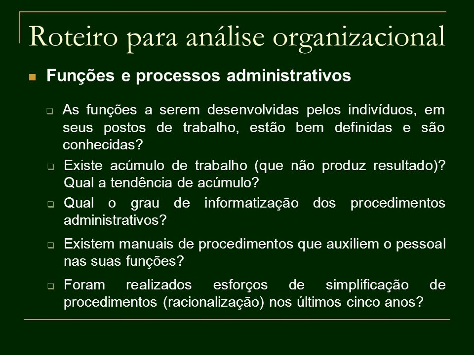 Roteiro para análise organizacional