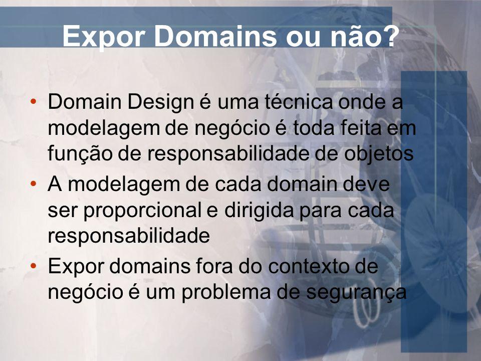 Expor Domains ou não Domain Design é uma técnica onde a modelagem de negócio é toda feita em função de responsabilidade de objetos.