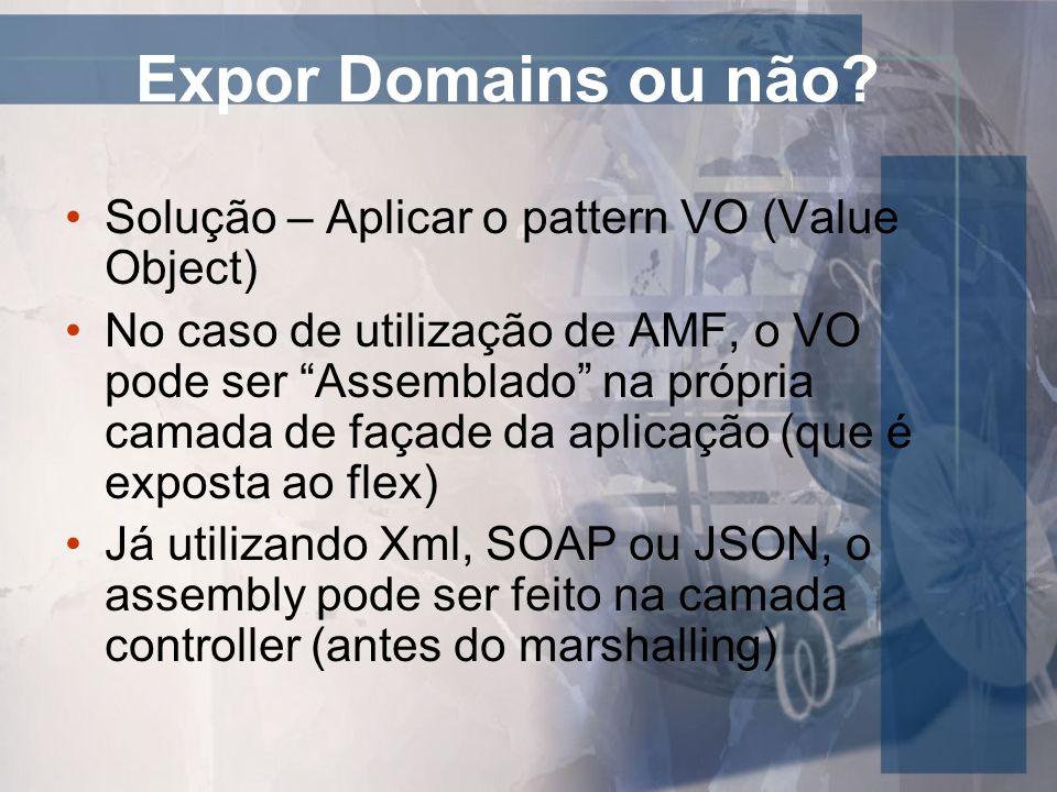 Expor Domains ou não Solução – Aplicar o pattern VO (Value Object)