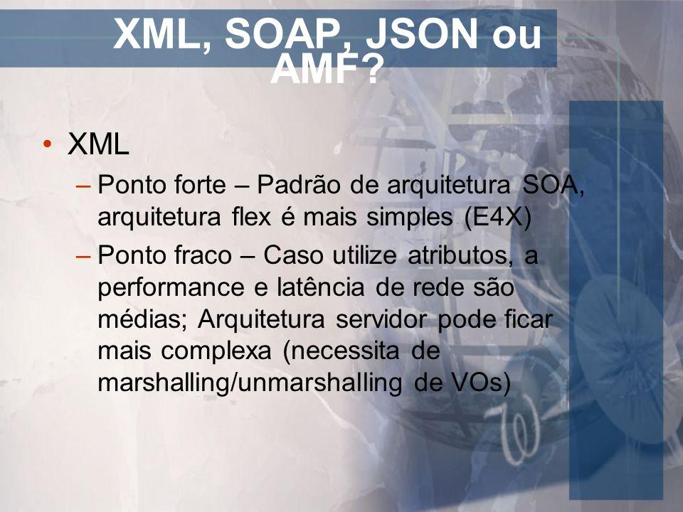 XML, SOAP, JSON ou AMF XML. Ponto forte – Padrão de arquitetura SOA, arquitetura flex é mais simples (E4X)