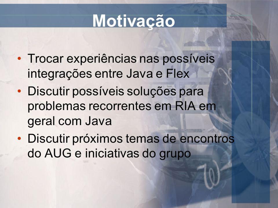 Motivação Trocar experiências nas possíveis integrações entre Java e Flex.