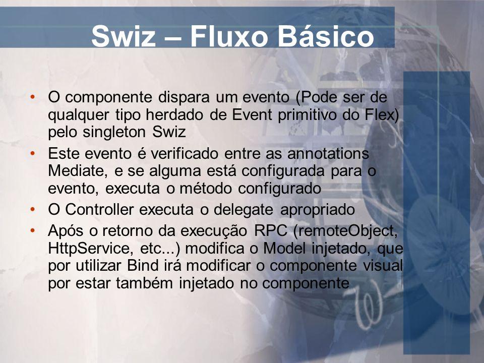 Swiz – Fluxo Básico O componente dispara um evento (Pode ser de qualquer tipo herdado de Event primitivo do Flex) pelo singleton Swiz.