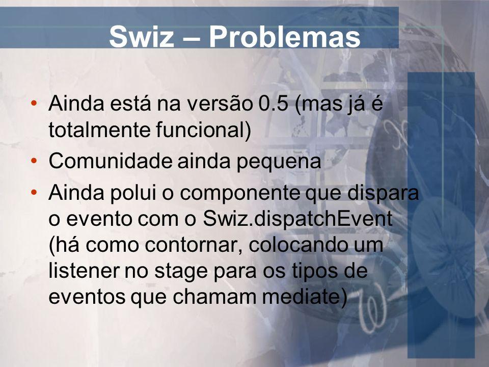 Swiz – Problemas Ainda está na versão 0.5 (mas já é totalmente funcional) Comunidade ainda pequena.