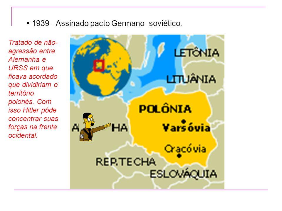1939 - Assinado pacto Germano- soviético.