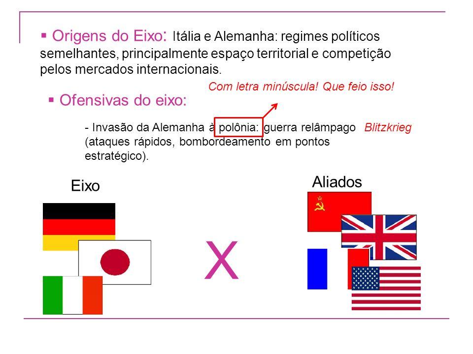 Origens do Eixo: Itália e Alemanha: regimes políticos semelhantes, principalmente espaço territorial e competição pelos mercados internacionais.