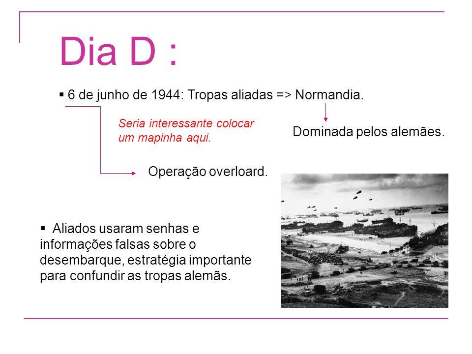 Dia D : 6 de junho de 1944: Tropas aliadas => Normandia.