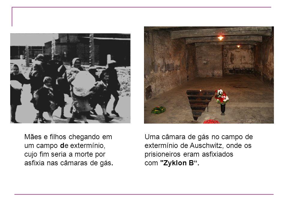 Mães e filhos chegando em um campo de extermínio, cujo fim seria a morte por asfixia nas câmaras de gás.