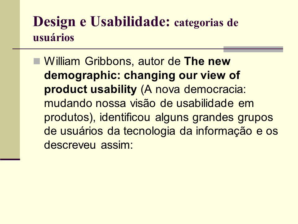 Design e Usabilidade: categorias de usuários