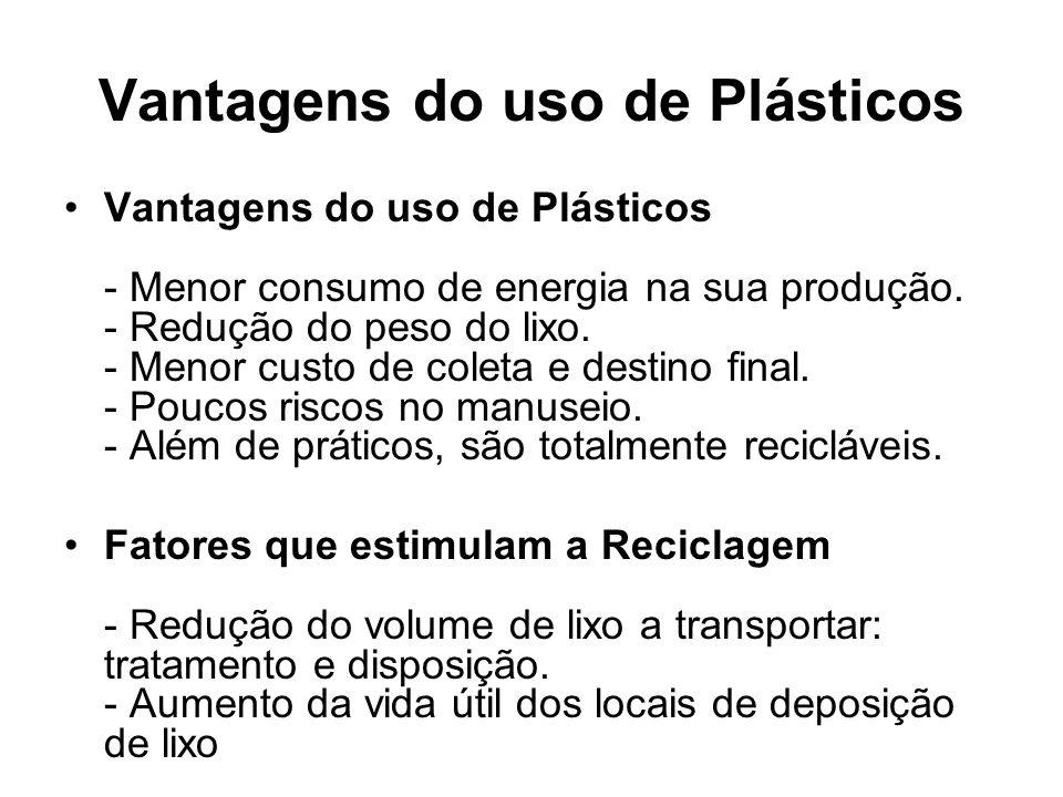 Vantagens do uso de Plásticos