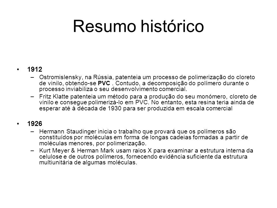 Resumo histórico 1912.