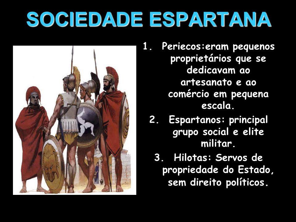 SOCIEDADE ESPARTANAPeriecos:eram pequenos proprietários que se dedicavam ao artesanato e ao comércio em pequena escala.