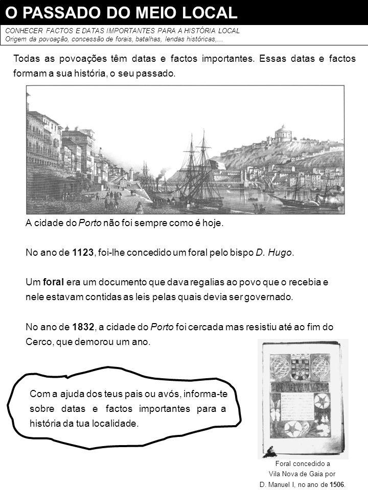 O PASSADO DO MEIO LOCAL CONHECER FACTOS E DATAS IMPORTANTES PARA A HISTÓRIA LOCAL.