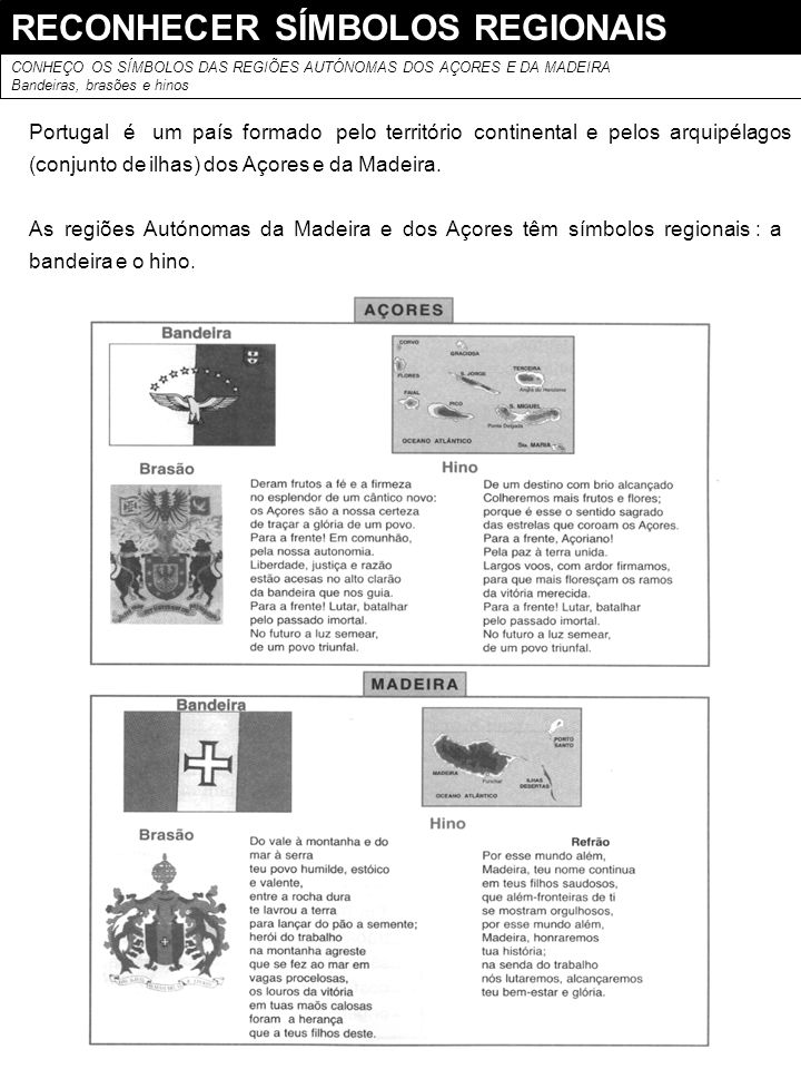 RECONHECER SÍMBOLOS REGIONAIS
