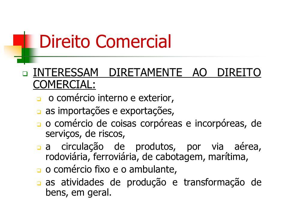 Direito Comercial INTERESSAM DIRETAMENTE AO DIREITO COMERCIAL: