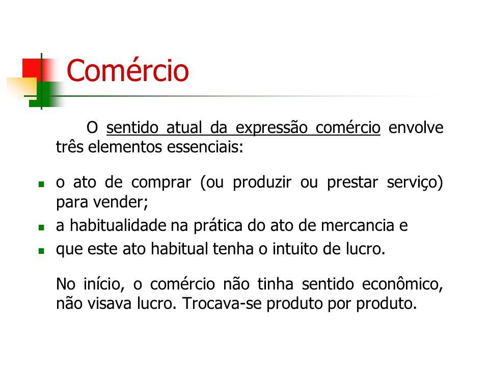 ComércioO sentido atual da expressão comércio envolve três elementos essenciais: o ato de comprar (ou produzir ou prestar serviço) para vender;