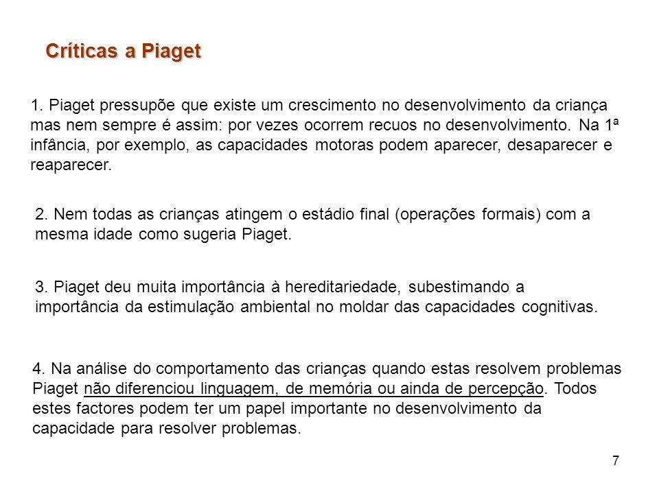 Críticas a Piaget