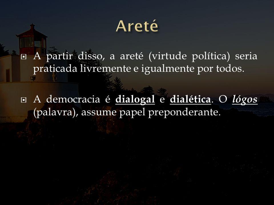 Areté A partir disso, a areté (virtude política) seria praticada livremente e igualmente por todos.
