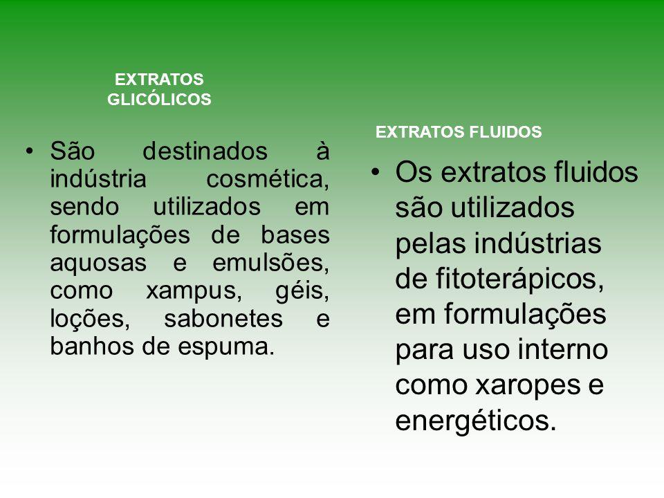 EXTRATOS GLICÓLICOS Os extratos fluidos são utilizados pelas indústrias de fitoterápicos, em formulações para uso interno como xaropes e energéticos.