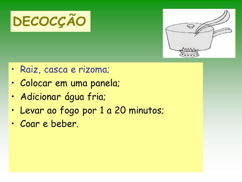 Raiz, casca e rizoma; Colocar em uma panela; Adicionar água fria; Levar ao fogo por 1 a 20 minutos;