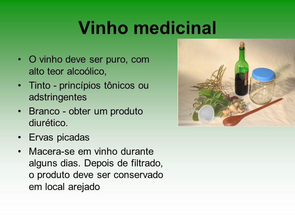 Vinho medicinal O vinho deve ser puro, com alto teor alcoólico,
