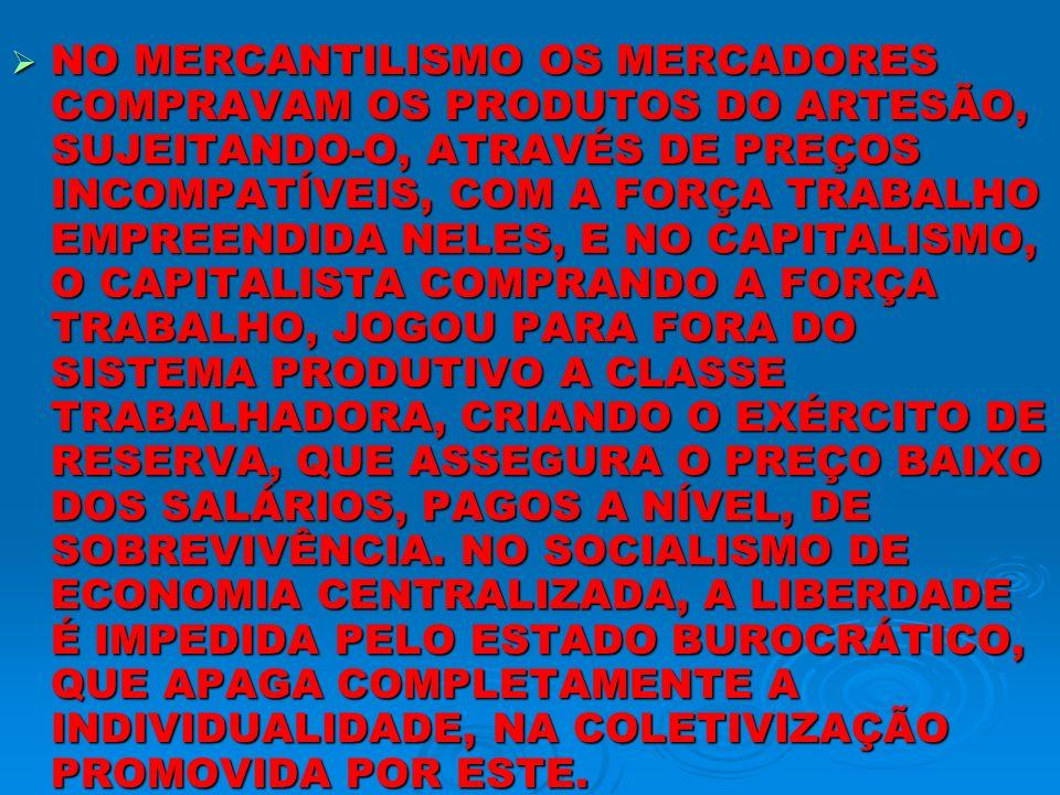NO MERCANTILISMO OS MERCADORES COMPRAVAM OS PRODUTOS DO ARTESÃO, SUJEITANDO-O, ATRAVÉS DE PREÇOS INCOMPATÍVEIS, COM A FORÇA TRABALHO EMPREENDIDA NELES, E NO CAPITALISMO, O CAPITALISTA COMPRANDO A FORÇA TRABALHO, JOGOU PARA FORA DO SISTEMA PRODUTIVO A CLASSE TRABALHADORA, CRIANDO O EXÉRCITO DE RESERVA, QUE ASSEGURA O PREÇO BAIXO DOS SALÁRIOS, PAGOS A NÍVEL, DE SOBREVIVÊNCIA.