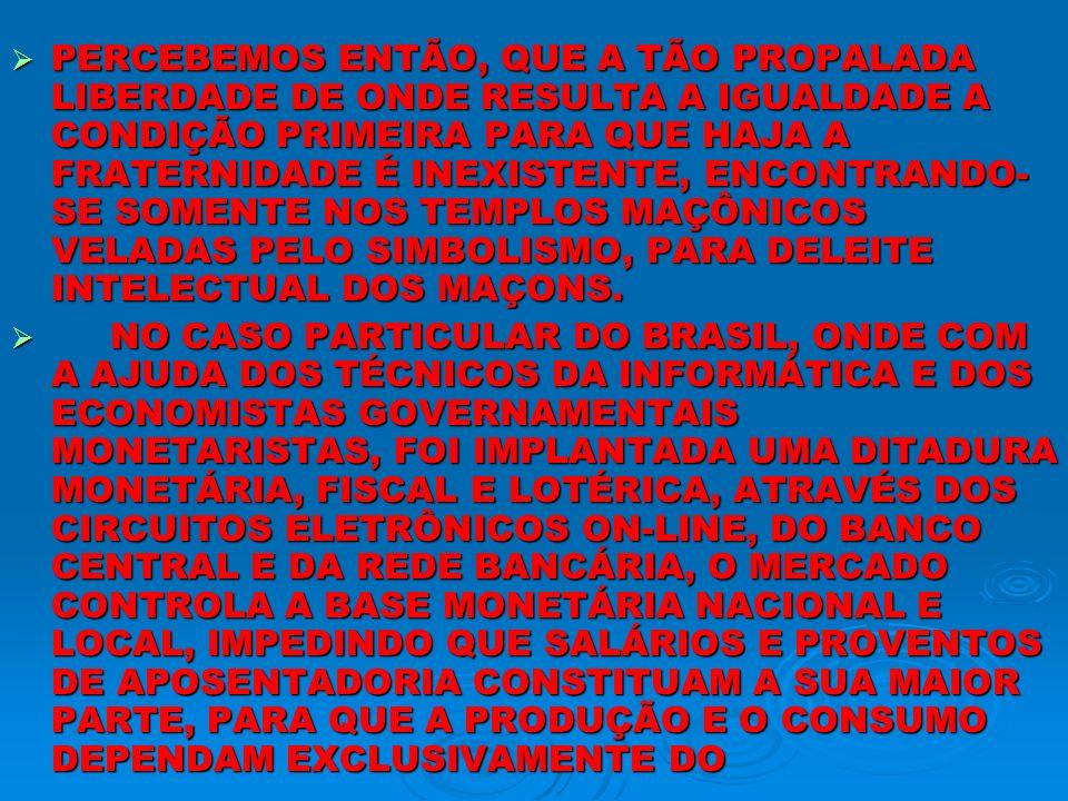 PERCEBEMOS ENTÃO, QUE A TÃO PROPALADA LIBERDADE DE ONDE RESULTA A IGUALDADE A CONDIÇÃO PRIMEIRA PARA QUE HAJA A FRATERNIDADE É INEXISTENTE, ENCONTRANDO-SE SOMENTE NOS TEMPLOS MAÇÔNICOS VELADAS PELO SIMBOLISMO, PARA DELEITE INTELECTUAL DOS MAÇONS.