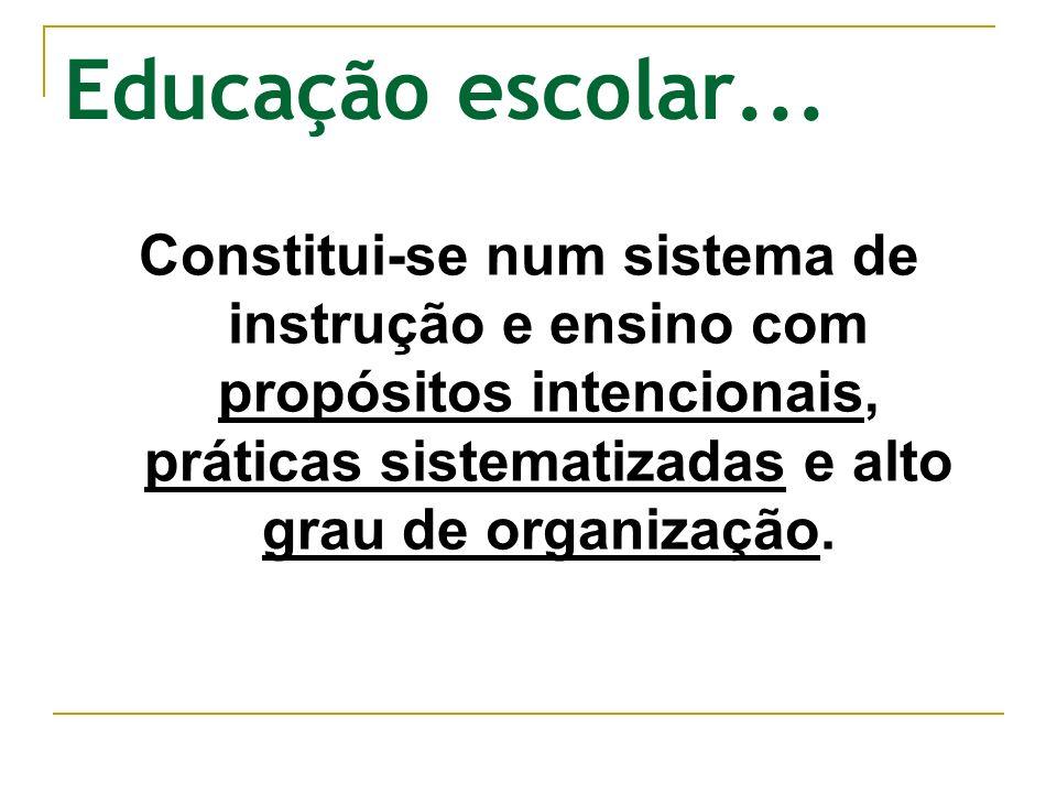 Educação escolar...Constitui-se num sistema de instrução e ensino com propósitos intencionais, práticas sistematizadas e alto grau de organização.