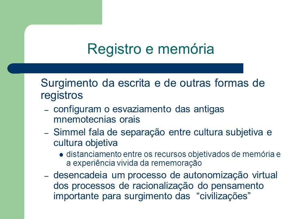 Registro e memória Surgimento da escrita e de outras formas de registros. configuram o esvaziamento das antigas mnemotecnias orais.