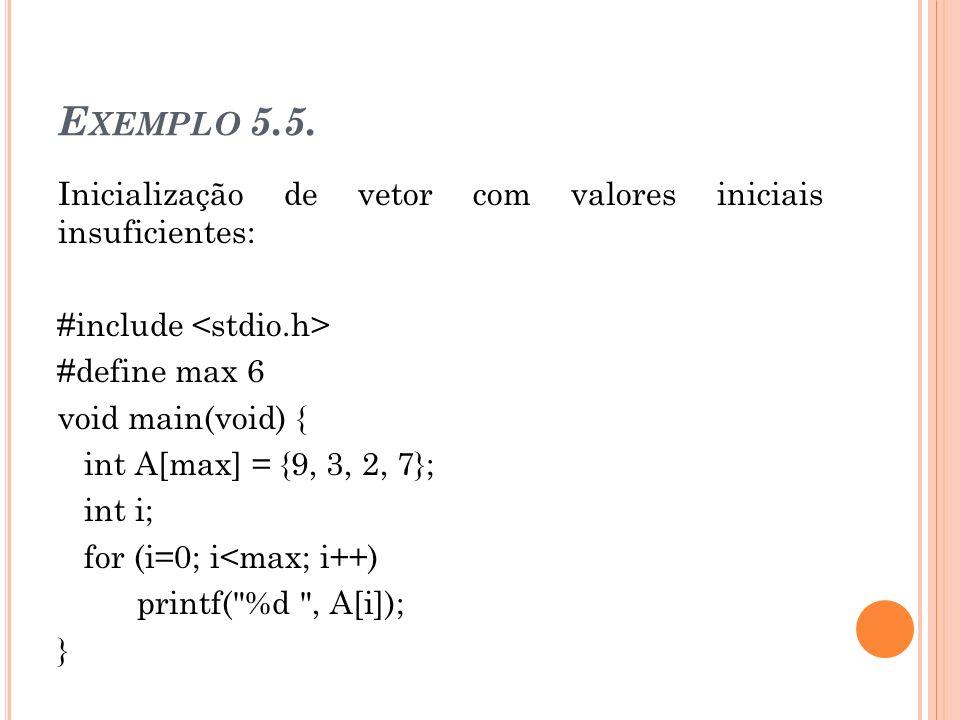 Exemplo 5.5. Inicialização de vetor com valores iniciais insuficientes: #include <stdio.h> #define max 6.