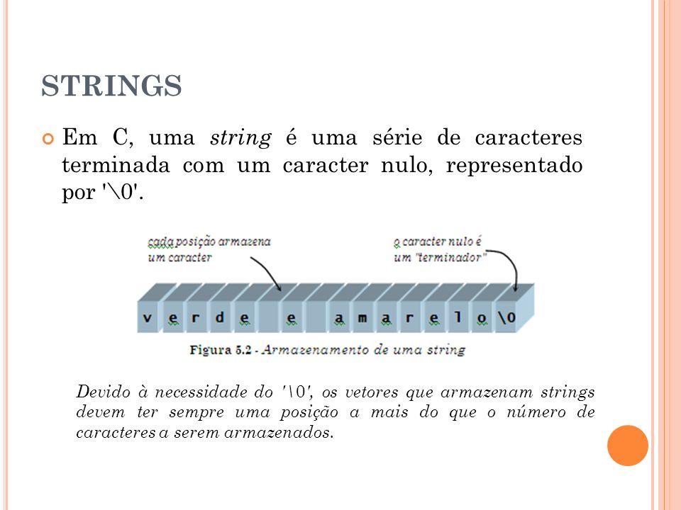 STRINGS Em C, uma string é uma série de caracteres terminada com um caracter nulo, representado por \0 .