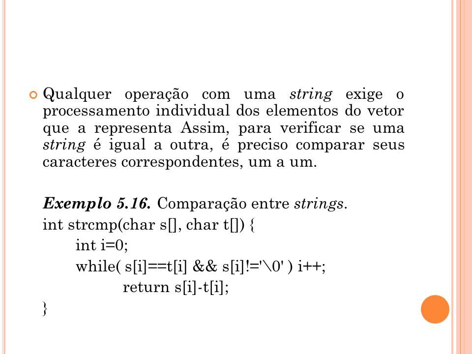 Qualquer operação com uma string exige o processamento individual dos elementos do vetor que a representa Assim, para verificar se uma string é igual a outra, é preciso comparar seus caracteres correspondentes, um a um.