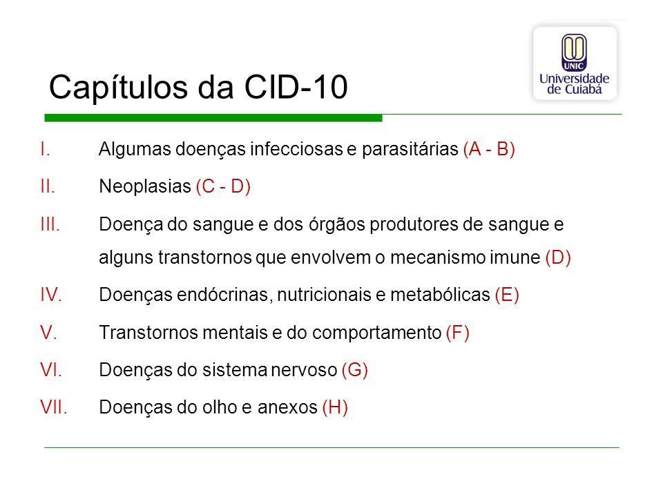 Capítulos da CID-10 Algumas doenças infecciosas e parasitárias (A - B)