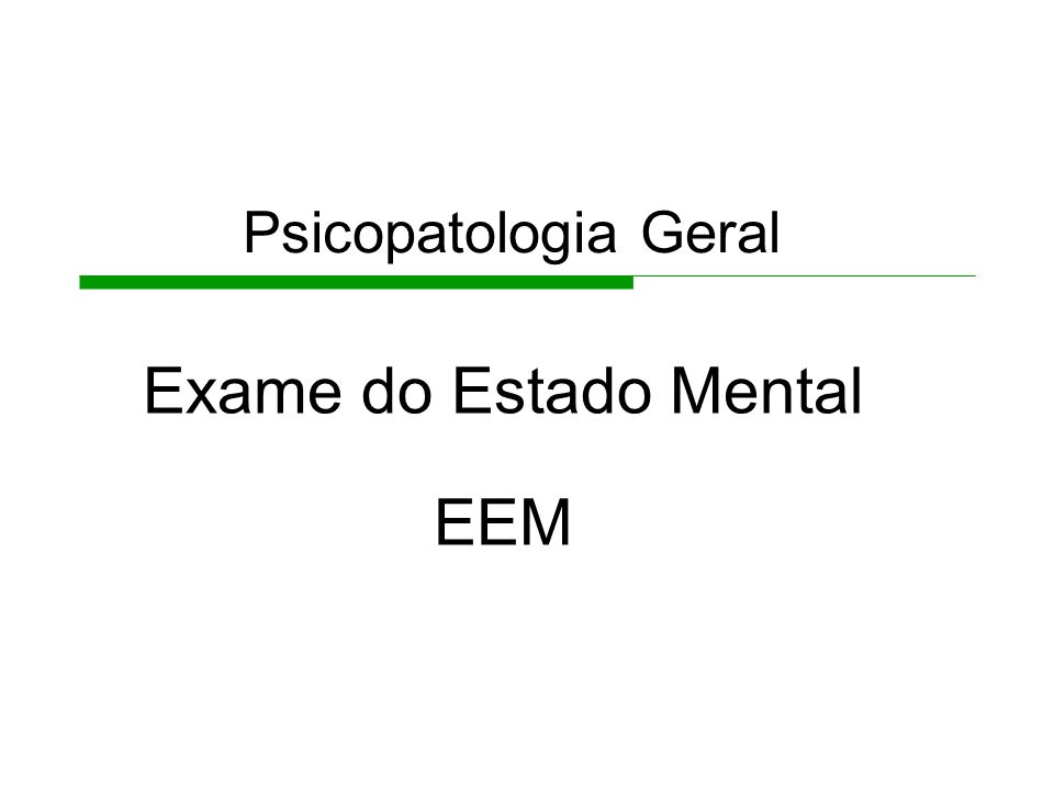 Exame do Estado Mental EEM