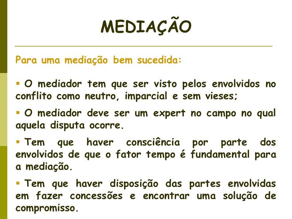 MEDIAÇÃO Para uma mediação bem sucedida: