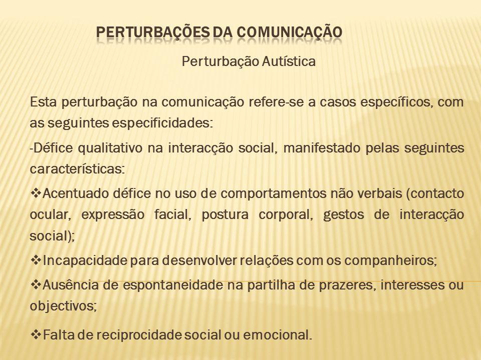 PERTURBAÇÕES DA COMUNICAÇÃO