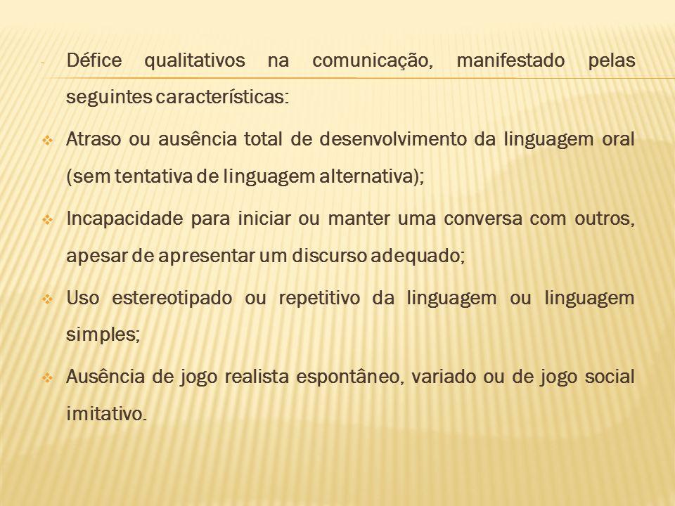 Défice qualitativos na comunicação, manifestado pelas seguintes características: