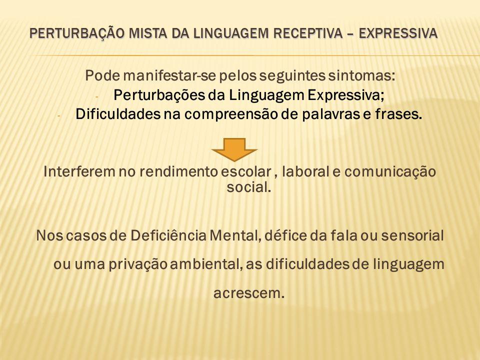 PERTURBAÇÃO MISTA DA LINGUAGEM RECEPTIVA – EXPRESSIVA