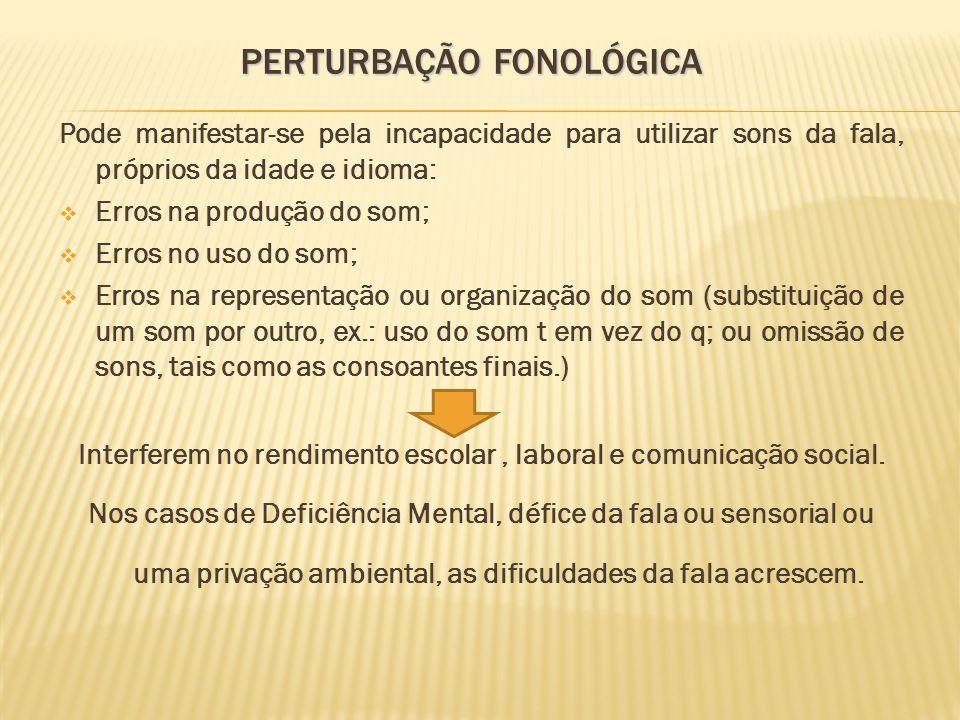 PERTURBAÇÃO FONOLÓGICA