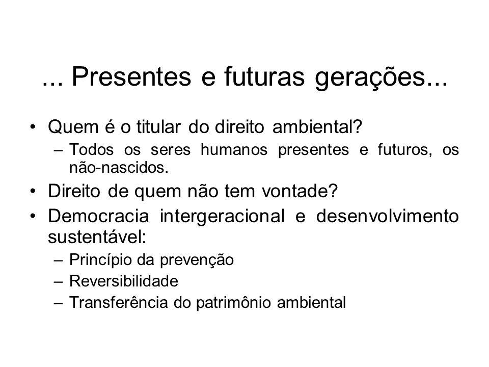 ... Presentes e futuras gerações...